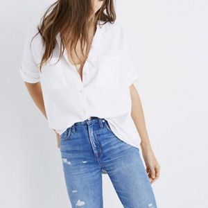 Madewell White Cotton Courier Button Down Shirt